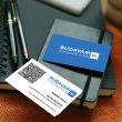 Budavári Könyvelő Iroda névkártyái láthatóak a képen, céglogóval és adatokkal